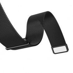 Curea metalica neagra cu magnet pentru Samsung Gear S3 / Galaxy Watch 46mm / Vector Luna / Moto 2nd gen 46mm / Huawei Watch W2 Classic