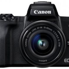 Aparat Foto Mirrorless Canon EOS M50 + EF-M 15-45mm IS STM, 24.1 MP, Filmare 4K, TFT 3inch (Negru)