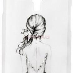 Protectie spate Lemontti Rilievo Dream Girl pentru Samsung Galaxy S3 Mini (Alb)