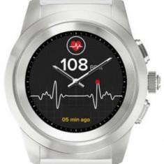 Smartwatch MyKronoz ZeTime Standard, Ecran Touchscreen TFT 1.22inch, Bluetooth, Bratara Silicon, Rezistent la apa (Argintiu/Alb)