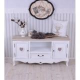 Masa tv living din lemn masiv alb cu inimioare Cod: HMB162, Mese si seturi de masa