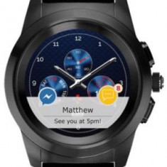 Smartwatch MyKronoz ZeTime Premium, Ecran Touchscreen TFT 1.22inch, Bluetooth, Bratara Piele, Rezistent la apa (Negru/Negru)