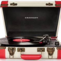 Pick-up portabil Crosley Executive CR6019A, Difuzoare stereo incorporate 2 x 3 W (Rosu) - Pickup audio