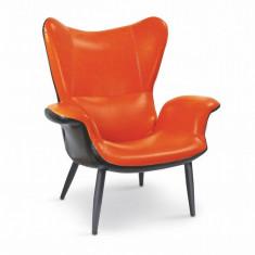 Fotoliu tapitat cu piele ecologica Pegas-M Orange - Fotoliu living