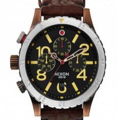 Nixon - Ceas Chrono Leather Antique Copper - Ceas barbatesc