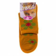 Sosete dama Gladys galbene cu imprimeu floral