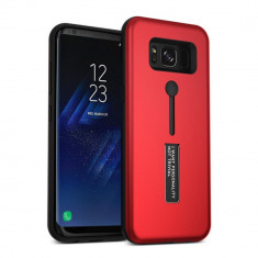 Carcasa din silicon rosie cu suport pentru deget compatibila cu Samsung Galaxy S8 Plus