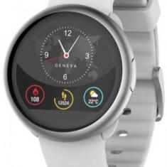 Smartwatch MyKronoz ZeRound 2, Ecran Touchscreen TFT 1.22inch, 64MB RAM, 256MB Flash, Bluetooth, Rezistent la apa si praf (Argintiu/Alb)