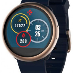 Smartwatch MyKronoz ZeRound 2, Ecran Touchscreen TFT 1.22inch, 64MB RAM, 256MB Flash, Bluetooth, Rezistent la apa si praf (Auriu/Albastru)