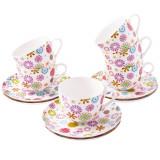 Set Ceai 12 piese, Portelan, Blumen