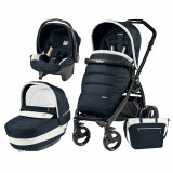 Carucior 3 in 1 Peg Perego Book Plus Black Matt Completo Elite Luxe Blue