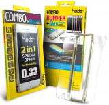 Bumper Hoda Taiwan GBO-IP6P-GD, folie de sticla fata+folie spate, pentru iPhone 6 Plus/6S Plus (Auriu)