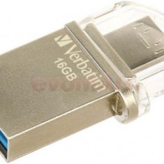 Stick USB Verbatim OTG Micro, 16GB, USB 3.0 (Argintiu)
