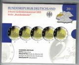 GERMANIA  - Set 5 buc x 2 Euro 2011 - Comm PROOF - A D F G J  Bundeslander, Europa