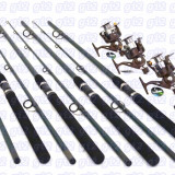 Set pescuit din 4 lansete 3m ,2 tronsoane cu 4 mulinete NAR50 cu5 rulmenti