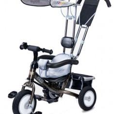 Tricicleta Toyz cu maner si roti din cauciuc Derby Gri