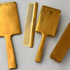 Set vintage vanity toaletare din alama, perie, perii, oglinda