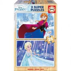 Puzzle Educa din Lemn Frozen 2 x 25 piese