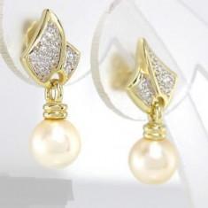 Cercei aur 14k deosebiti cu perla akoya si diamante - Cercei cu diamante