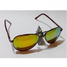 Ochelari polarizati oglinda rama aurie tenta galbena tip Police sau Aviator, Unisex, Protectie UV 100%