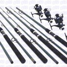 Set pescar 4 lansete POWER 3m, 4 mulinete DA6500, 6 rulmenti, baitrunner