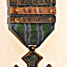 MEDALIA CRUCEA COMEMORATIVA AN 1918 INTERIORUL CRUCII NEGRU CU 6 BARETE - Ordin