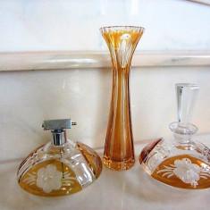 SET STICLUTA PT PARFUM VAPORIZATOR + VAZA MICA SET DIN CRISTAL DEOSEBIT - Arta din Sticla