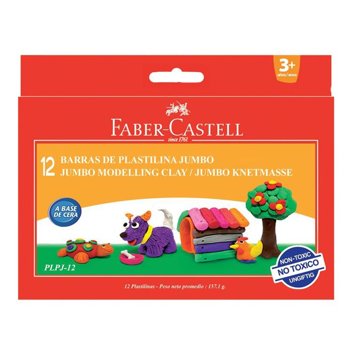 Plastilina 12 culori Faber Castell PLPJ-12 foto mare