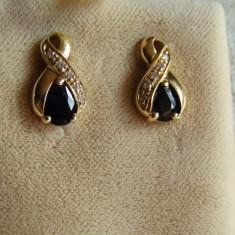 LICHIDEZ COLECTIE- CERCEI CU SAPHIR SI DIAMANTE - Cercei cu diamante