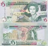 Insulele Caraibe 5 Dollars 2008 UNC