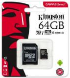 Card de memorie Kingston Canvas Select microSDXC, 64 GB, 80 MB/s Citire, 10 MB/s Scriere, Clasa 10 UHS-I + Adaptor SD