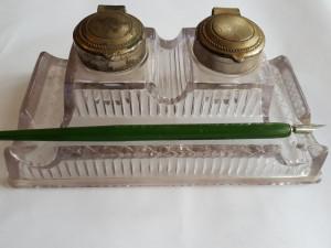 CALIMARA DE BIROU DUBLA DE STICLA CU CAPACE ARGINTATE SI TOC- ART DECO -1930
