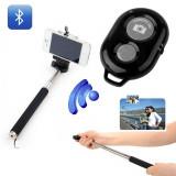 Selfie Stick Extensibil Cu Suport Pentru Telefon Si Telecomanda Bluetooth