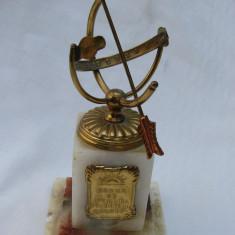 Impresionant ceas solar din alama pe soclu din marmura (2) - Metal/Fonta, Ornamentale