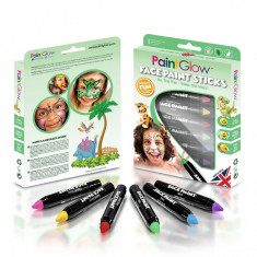 Creioane colorate pictura copii fata sau corp, 6 culori, 3.5 gr, PaintGlow - Face painting copii