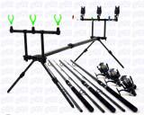 Kit pescar 3 lansete POWER, 3 mulinete J3FR cu 11 rulmenti, rodpod full echipat