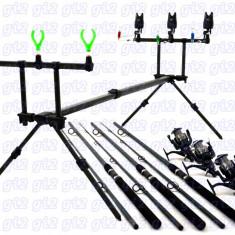 Kit pescar 3 lansete POWER, 3 mulinete H6500 cu 11 rulmenti, rodpod full echipat - Set pescuit