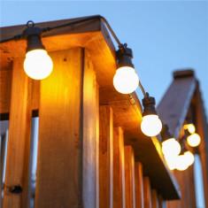 Ghirlanda luminoasa de inchiriat 10M cu 20 LEDuri mate, Cablu Negru, Lumina Calda, Conectabila 50M, De Exterior - Corp de iluminat
