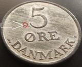 Moneda 5 ORE - DANEMARCA, anul 1955   *cod 3649 --- ZINC UNC + EROARE SURPLUS!