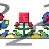 Desen vectorial cu flori cubice