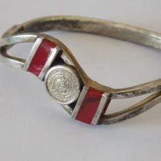 Bratara argint vintage cu coral -4189