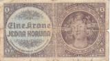 Bancnota Boemia si Moravia 1 Koruna (1940) - P3 Fine