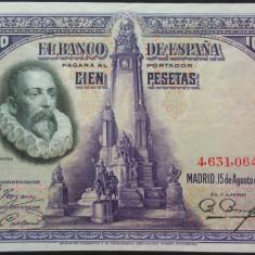 Bancnota istorica 100 Pesetas - SPANIA, anul 1928 * cod 467  XF