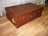 Geamantan valiza piele era interbelica Franta, colectie, vintage