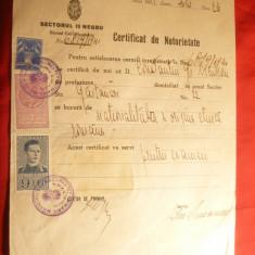 Certificat de Notorietate emis de Sectorul II Negru 1941 ,timbru fiscal 20 lei