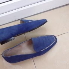 Mocasinni dama piele intoarsa, 38, Albastru