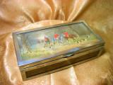 Cumpara ieftin Cutie caseta humidor Art Deco trabucuri, tigari, placata argint, mahon