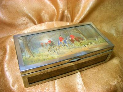 Cutie caseta humidor Art Deco trabucuri, tigari, placata argint, mahon foto