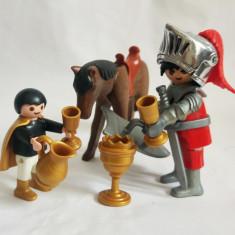 Figurine Playmobil - cal, cavaler, copil, accesorii pahare, cupa / pocal / graal