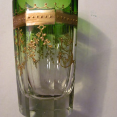 CY - Pahar cristal vechi superb verde degrade model aurit dar spart si lipit - Pahare
